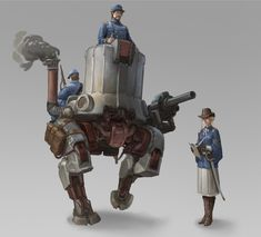 ArtStation - Maoden Zhang's submission on Wild West - Character Design Lovecraftian Horror, Armadura Medieval, World Of Tomorrow, Alternate History, Tank Design, Western Theme, Diesel Punk, Retro Futurism, Wild West