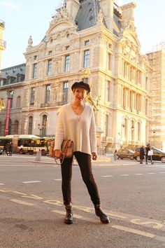 A fashion blog for women over 40 and mature women  Knit + Pants. Zara Bag: Gucci Boots: RAS