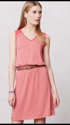 Anthropologie Deletta Chevron Janie Jersey Sleeveless Dress Orange Small | eBay