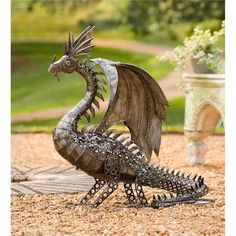 LED-Lighted Steampunk Dragon in Metal Yard Sculpture