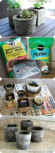 DIY PLANTERS :: Making Hypertufa Pots Tutorial :: Hypertufa is a stonelike material that mimics a type of rock. Make flower pots (or balls/pillars) in any shape & size w/ just THREE INGREDIENTS!!! She shows you her method & here is Matha Stewart's method (w/ patterns on the outside & different shapes): www.marthastewart.com/268091/pots-with-a-personal-touch-hypertufa?page=2 & one more method w/ GOOD TIPS…