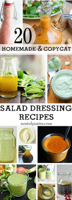 20 Homemade and Copycat Salad Dressing Recipes from some of your favorite resturants and bloggers!