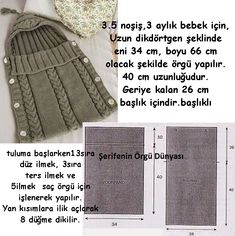 This post was discovered by Yasemin Genc. Discover (and save!) your own Posts on Unirazi. Baby Knitting Patterns, Knitting For Kids, Baby Patterns, Diy Crafts Knitting, Loom Knitting, Knitting Stitches, Knit Baby Dress, Baby Bunting, Baby Cocoon