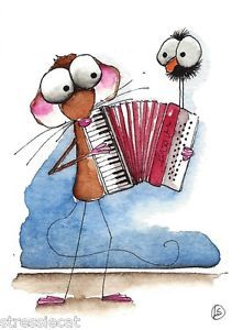 ACEO Original Watercolor Folk Art Whimsical Painting Mouse Crow Music Accordion | eBay