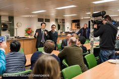 21 Feb, 2016 Naoto Kan, former Prime Minister of Japan talking to the press onboard the Rainbow Warrior, as it sailed passed the destroyed nuclear plant. Greenpeace launched an underwater investigation into the marine impacts of radioactive contamination. Kan declared that it is not over, including major threats from contaminated water from the site; restated his opposition to nuclear power in Japan and called for renewable based energy policy