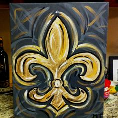 Fleur De Lis Paintings On Canvas | My Fleur de Lis Painting with a Twist!!! | The French Lilly or Fleur ...