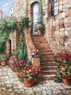 'Stone Stairway, Perugia' Art Print - Roger Duvall | Art.com Canvas Artwork, Framed Artwork, Stair Art, H Design, Staircase Design, Beautiful Places, Patio, Backyard, Art Prints