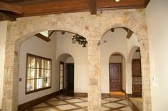 Subtle Stone Arches Napa Valley Style, Mahogany Flooring, Room Pictures, Sweet Home, Dining Room, Layout, Arches, Villa, House