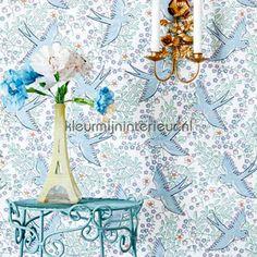 Zwaluw patroon wit blauw behang 359020, Rice van Eijffinger
