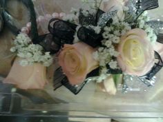 Black and Pink Wrist Corsage with Pink Roses, and Babies Breath