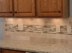 Kitchen Idea, Beautiful White Glass Tiles Backsplash Kitchen Ideas With  Wooden Kitchen Cabinet And White Granite Countertop Design Ideas: Adorable  Glass ...