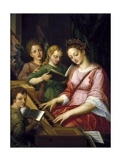 Coxie Michiel I Santa Cecilia Prado 1499 1592 Catholic Art, Catholic Saints, Patron Saints, Catholic Crafts, Santa Cecilia, Santa Clara, Fra Angelico, Patron Saint Of Music, Sainte Cecile