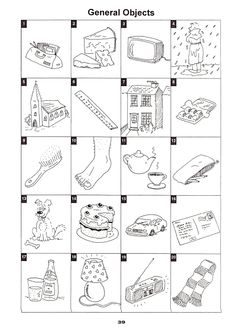 Vocabulary building pictures about everyday objects.