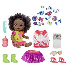 Baby alive so many styles baby (black curly hair) . Who gets excited when it's time to get dressed? Baby Alive So Many Styles Baby does! She's got Curly Hair Baby, Black Curly Hair, Boy Doll, Girl Dolls, Baby Alive Magical Scoops, Splash Party, Mix Match Outfits, Baby Alive Dolls, Girls With Black Hair