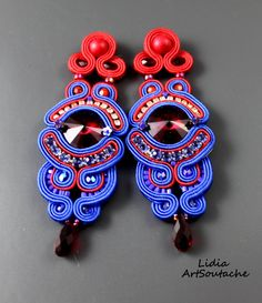 Navy Blue Soutache Earrings -Sapphire- Red-Cobalt Earrings- Long Dangle Earrings - Soutache Earrings-Soutache jewelry, handmade from Poland de LidiaArtSoutache en Etsy