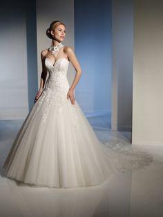 Ball Gown Sweetheart Chapel Train Ivory Wedding Dress #ShopSimple