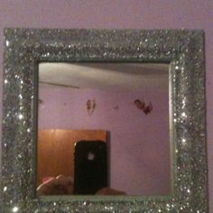 Wanted sparkly things for my daughters Tinkerbell room so I found an old mirror and spray painted it silver then sprinkled silver glitter all over it an let it dry. End result=sparkly wall art I have now done 3 pieces in her room and they turned out great!