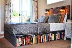 Install a Bookshelf Beneath the Bed