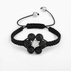 Adjustable Cord Shamballa Beaded Flower Braided Bracelet Black