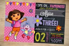 Dora the Explorer Birthday Invitation by Partyboxinvites on Etsy