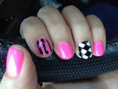 <3 fun nails.Pink and white gels with black paint
