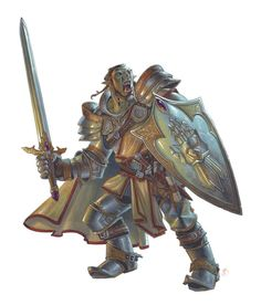 Half-orc paladin (from the 5e Dungeons & Dragons Player's Handbook). Art by Chris Seaman.