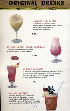 "Page of original drinks from the old Vegas Aku-Aku Tiki Lounge - At those prices I'd have to try them all... even the one ""Especially recommended for ladies"""