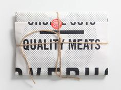 I love this idea of designing butcher paper to wrap merchandise in. It definitely leaves an impression and would hammer the concept of butcher shop home. If we could find a way to do it inexpensively, it would be a waste to pass it up. Paper Packaging, Pretty Packaging, Food Packaging, Brand Packaging, Packaging Ideas, Clever Packaging, Coffee Packaging, Bottle Packaging, Ok Design