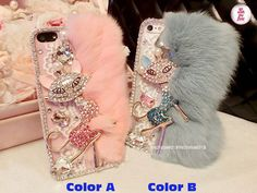 Free Phone Case & Gorgeous Bling Fox Gems Rabbit Fur DIY Deco Kit Decoden Kit Cabochon Deco Kit For DIY Cell Phone iPhone 4G 4S 5 Case