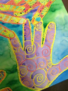 2nd Grade - crayon resist - cool/warm http://createartwithme.com/2013/01/03/warm-cool-colors-handprint-pattern-watercolor-crayon-resist-painting/