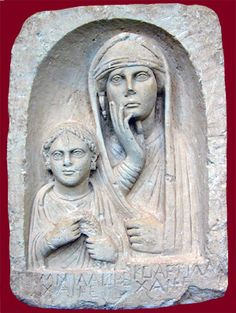 Funerary portrait of a mother and daughter, mother wears native Mesopotamian costume; the daughter holds a wreath and wears fashionable Roman jewelry. Roman, from Palmyra in the Euphrates region of Syria, 70-100 A.D.
