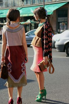 on right: skirt, top, heels, jacket, messy pony, baby-bump
