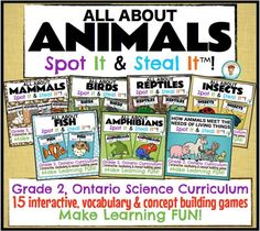 "$ 50% OFF limited time only!! A bundle of 15 games that cover the Ontario Science Curriculum - ""Understanding Life Systems : Growth and change in animals"". Fun, hands-on, engaging learning games"