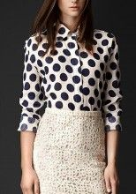 Navy Blue Polka Dot Print V-neck Chiffon Blouse