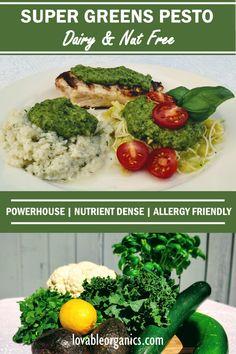 Nutrient dense, low carb, power greens recipe for Keto diet. Nut Free, Grain Free, Dairy Free, Power Greens Recipe, Healthy Meals, Healthy Recipes, Green Pesto, Super Greens, Superfood
