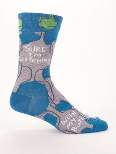 Sure I'm Listening Men's Socks by Blue Q Beer Socks, Men's Socks, Socks Men, Dress Socks, Blue Q Socks, Black Socks, Fish Net Tights Outfit, Mens Novelty Socks, Novelty Gifts