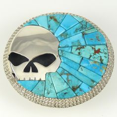 Alvin Yellowhorse,Textured Sterling Silver Western Style Belt Buckle with a Harley Davidson Skull and Cobble Inlaid Candelaria Turquoise.
