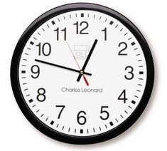 Charles Leonard Wall Clock, 14 Inch Thinline Quartz with 12 Inch Dial, Black/White (76820) Wall Clock Analog, White Wall Clocks, Cat Clock, Tabletop Clocks, Large Clock, Geometric Wall, Jewelry Armoire, Oriental Trading, Battery Operated