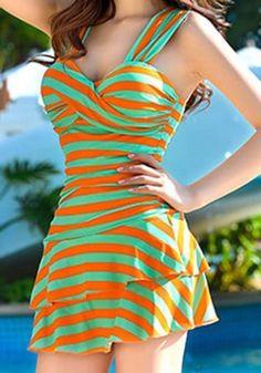 c350e5c3ee Trendy Sweetheart Neckline Striped One-Piece Swimsuit For Women. Vintage  Style Swimsuit ...
