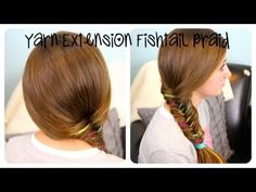 Yarn Extension Fishtail Braid   Color Highlights   Cute Girls Hairstyles - YouTube