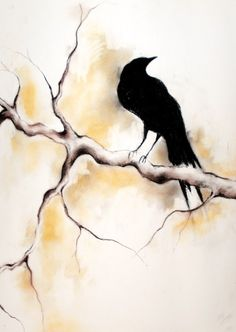 Raven on a branch  original charcoal drawing by MariaKitanoArt,