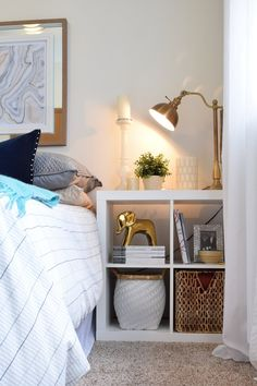 What a great idea for an easy nightstand and storage!  Randi & Joe's Cookie-Cutter-Busting Rental Restyle
