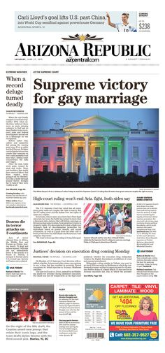 Front Page News: Newspapers nationwide cover freedom to marry ruling | Freedom to Marry