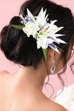 """This is a beautiful tropical Wedding hair comb that is created with """"Real Touch"""" (Tru Touch) Premium flowers. The arrangement begins with double white Silk Bird of Paradise Flowers. The beautiful tropical flower that are arranged in this piece are then hand wired with Real Touch flowers including White Gardenia, Plumeria and a White Tahitian Lily. It is available as just the flowers only or you can add optional purple crystal leaf sprays (as shown.) Bird Of Paradise Wedding, Birds Of Paradise Flower, White Gardenia, Bridal Hair Flowers, Hair Comb Wedding, Dream Hair, Tropical Flowers, Headpiece, Wedding Hairstyles"""