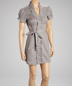 Take a look at this Gray Belted Button-Up Dress on zulily today!