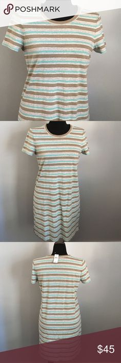 NWT Lou & Grey striped cotton dress, size M Striped summerweight dress in olive, gray and aqua stripes. New with tags from Lou & Grey. Falls just at the knee. Machine washable. Lou & Grey Dresses