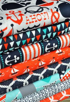 The Ahoy Matey fabric collection from Michael Miller. I need to learn me how to sew!