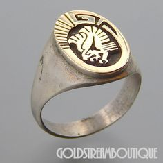 LEAH CLEVELAND NAVAJO STERLING SILVER 14K GOLD OVERLAY EAGLE OVAL RING SIZE 11
