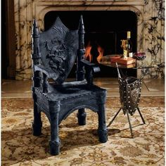 Gothic Home Decor - Medieval Gothic - Design Toscano Gothic Furniture, Classic Furniture, Unique Furniture, Gothic Chair, Medieval Furniture, Dream Furniture, Furniture Chairs, Funky Furniture, Upholstered Chairs