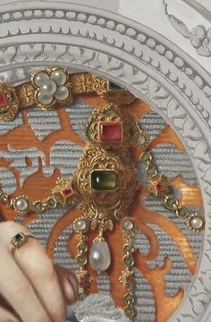 """"""" Liz"""" , a mix of Renaissance ornaments and detail of a painting of François Clouet (French, c. Renaissance Jewelry, Renaissance Art, Detailed Paintings, Renaissance Paintings, Classic Paintings, Classical Art, Detail Art, Illuminated Manuscript, Fabric Painting"""